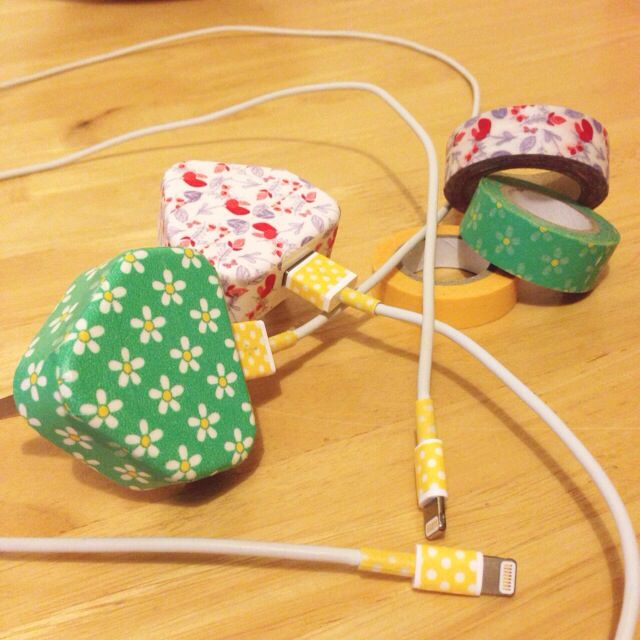 Washi taped iPhone chargers
