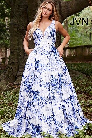 325f67c24e6 White Blue Floral Print Satin Prom Ballgown JVN60561 in 2019 ...