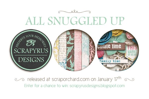 """Scrapyrus Designs: Win """"All Snuggled Up""""  Scrapyrus Designs has a gorgeous new kit coming soon and you're gonna want to have this one. Leave us a nice comment on this blog post for a chance to win it and check back in the new release post to see if you have won the papers and elements of this cozy kit."""