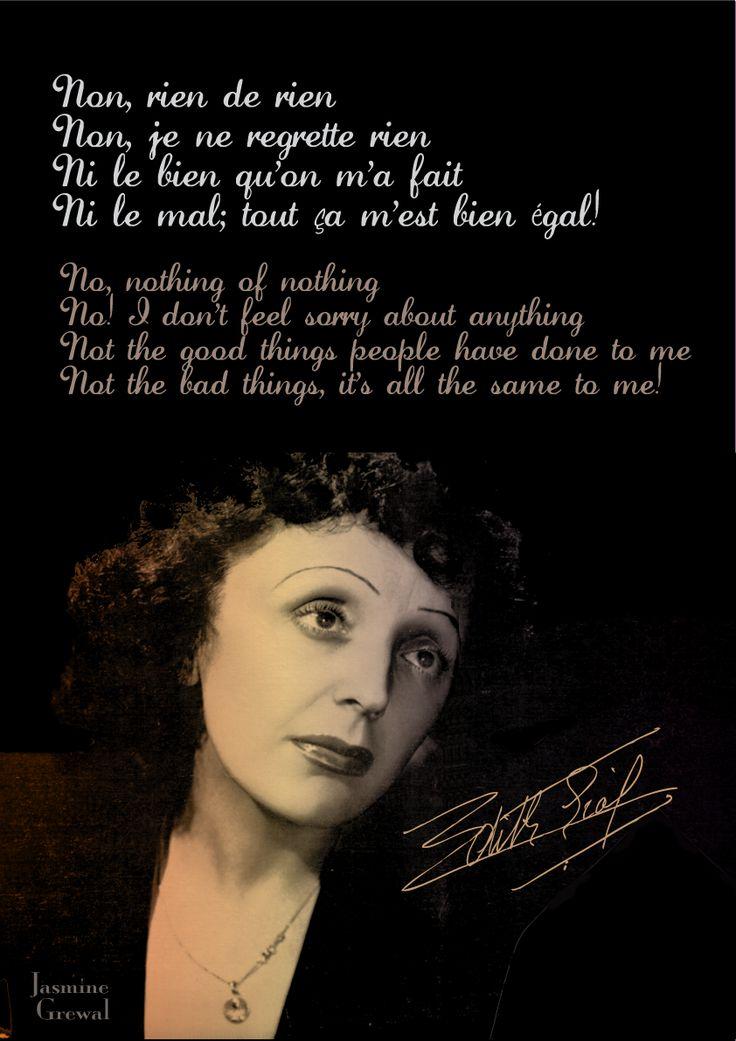 Non, rien de rien- Edith Piaf <3