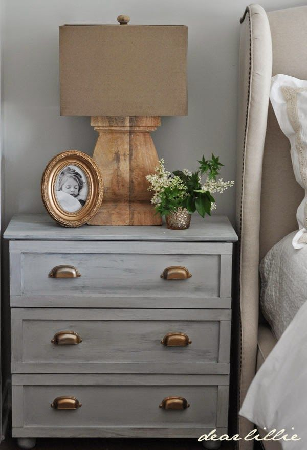 Gray dresser with brass hardware as nightstand || Dear Lillie