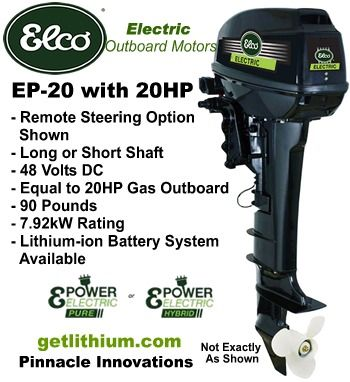 Elco Ep 20 Electric Outboard Motor Click For Details On This 20 Horsepower Electric Outboard Engine Electric Pontoon Boat Electric Boat Pontoon Boat