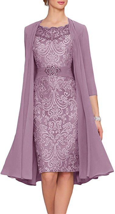 b82f4ba06eb0 Newdeve Chiffon Mother Of The Bride Dresses Tea Length Two Pieces With  Jacket at Amazon Women s Clothing store