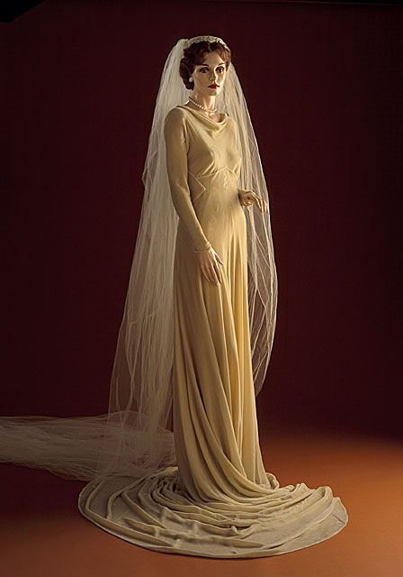 Silk velvet wedding gown and veil, by Madeleine Vionnet, French, c. 1934.