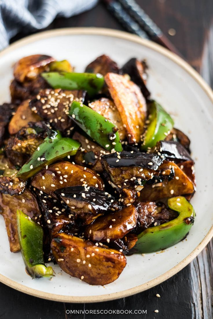 Di San Xian (Fried Potato, Eggplant and Pepper in Garlic Sauce 地三鲜) - Vegan   Gluten-Free   Stir-Fry   Chinese Recipe