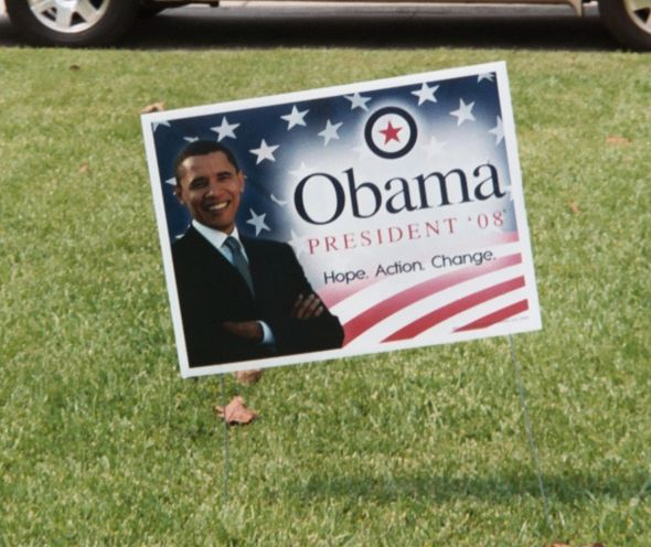 Obama got a lot of help from political yard signs. You can help your candidate this way as well!