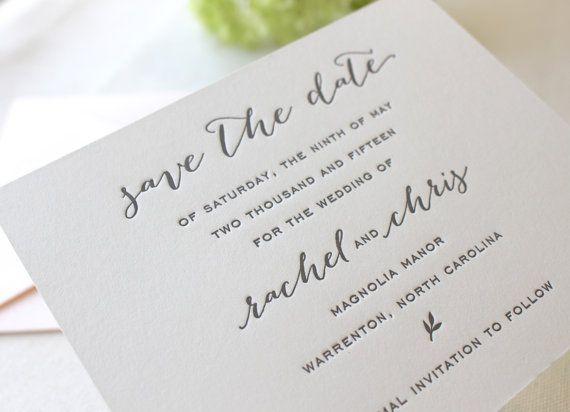 The Magnolia Suite  Letterpress Wedding Save the Date