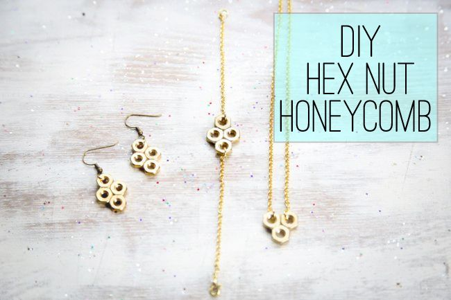 An easy tutorial for making your own hex nut bracelet - or earrings - in a delicate honeycomb pattern. Make the entire set and offer it as a gift!