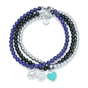 Return to Tiffany™ round and heart tags on bead bracelets.