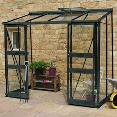 Serre de jardin adossée 3,36m² en verre trempé BROADWAY verte - Eden Greenhouses