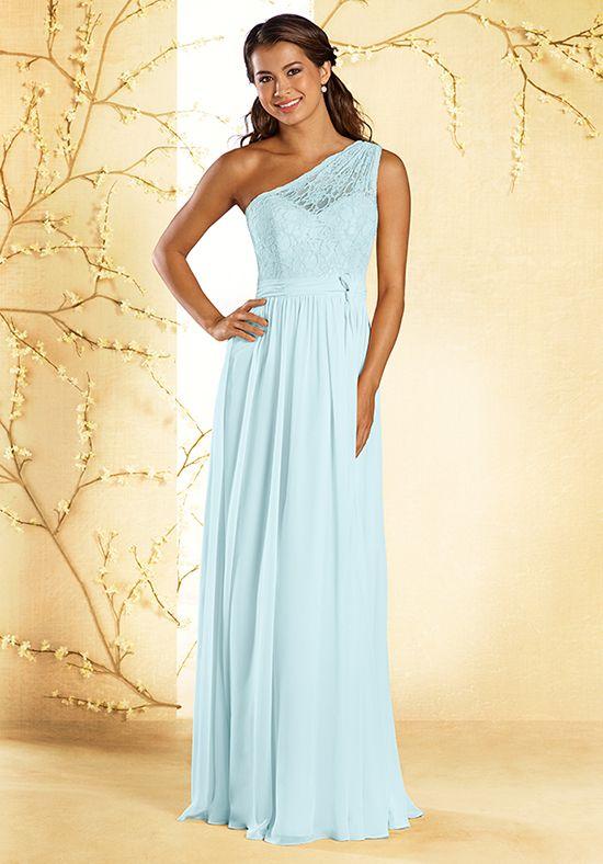 Blue Chiffon Single Shouldered Bridesmaid Dress | Style 543 by Alfred Angelo |  http://trib.al/2g0qirA