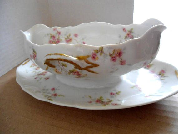 Limoges Gravy Boat Large White with Pink Flowers Gold Handles