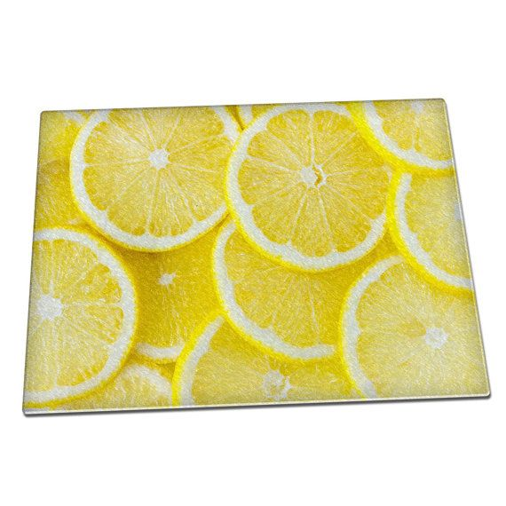 Fresh Lemon slices Glass Chopping Board 046   Kitchen  House