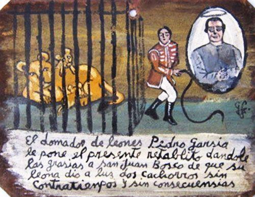 Укротитель львов Педро Гарсия посвящает это ретабло Святому Хуану Боско в благодарность за то, что у его львицы родилось два львенка и все обошлось без проблем и осложнений.