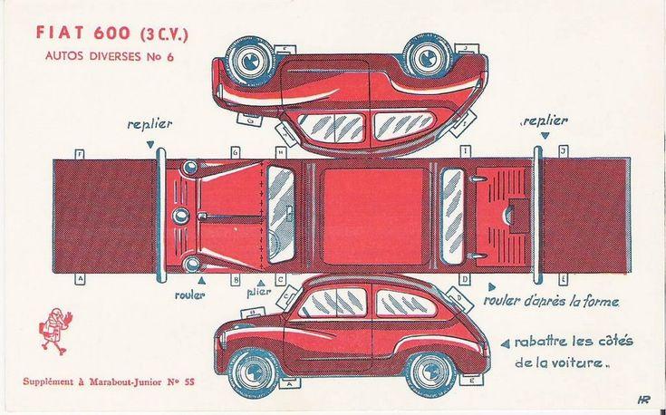 Recortables de coches antiguos Fiat 600 (3CV)