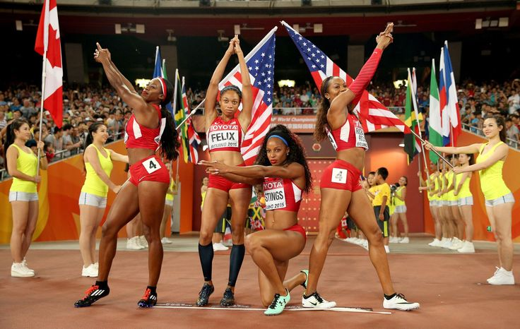Women's 4x400 Relay Final US Relay Team, Francena McCorory, Sanya Richards-Ross, Natasha Hastings and Allyson Felix