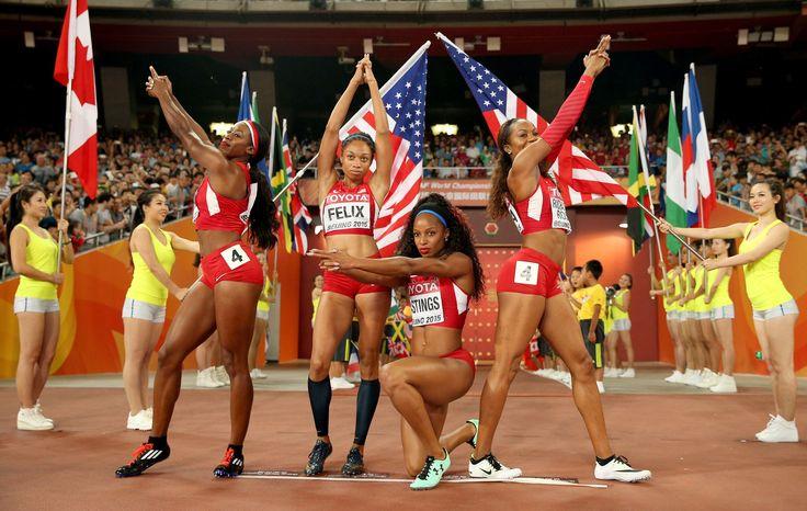 Women's 4x400 Relay Final US Relay Team, Francena McCorory, Sanya Richards-Ross, Natasha Hastings and Allyson Felix