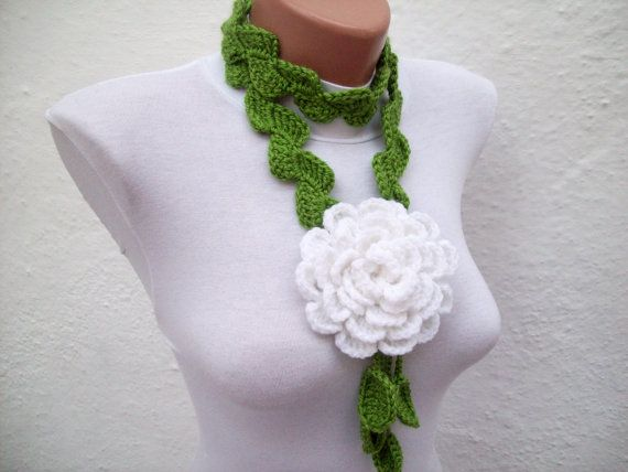 mother gift, Winter Accessories, Crochet Scarf, Lariat Flower Scarves, Women Floral Jewelry, Long Necklace, Green white Hand crochet Lariat Scarf Green White  Flower Lariat by nurlu, $20.00