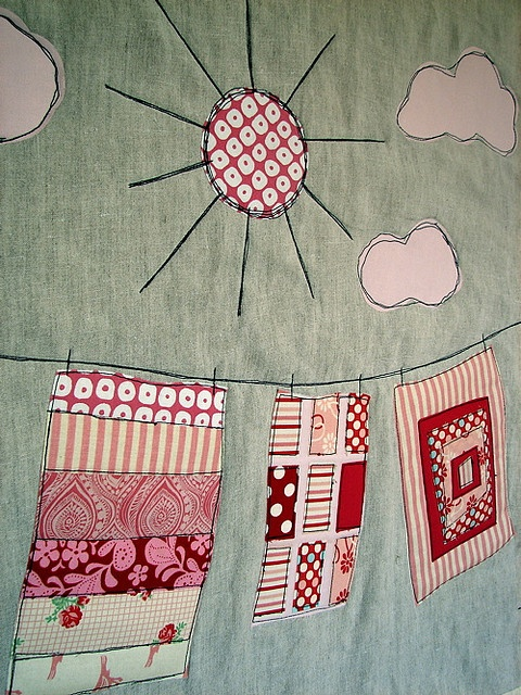 Quilts on the line. This would look great scrappy.