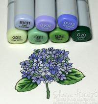 Copic: hydrangea coloring tutorial