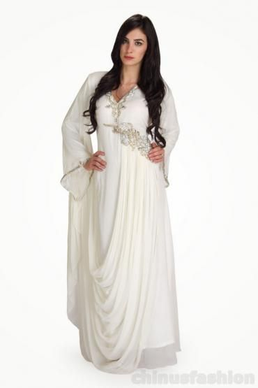 White Chiffon Gown Style Kaftan #whitedress #chiffon kaftan #kaftan