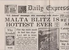 WW2 Wartime Newspaper Daily Express March 27 1942 Malta Air Battle RAF Ruhr  Daily air assaults on Malta lasted from March to May 1942