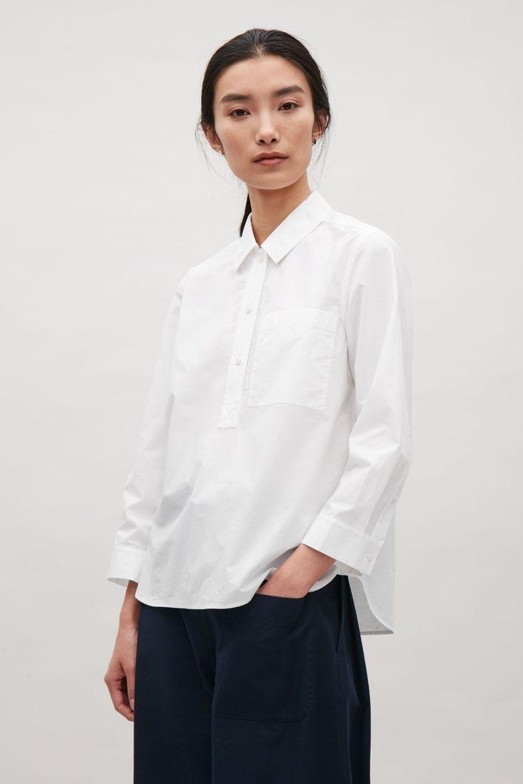 COS image 2 of Grandad collar shirt in White