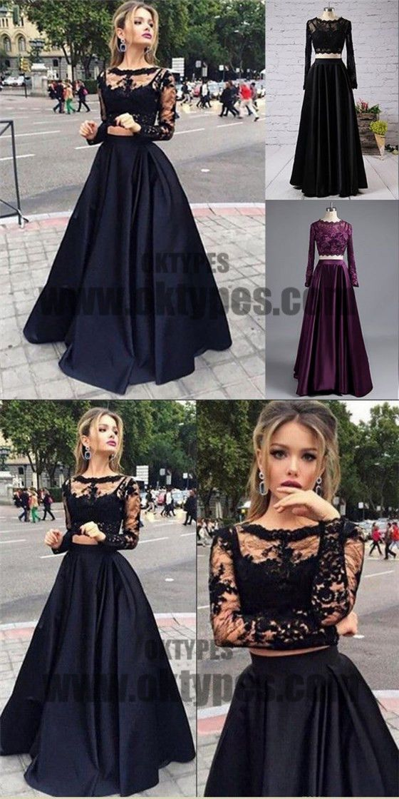 Black Two Piece Long Sleeve Prom Dresses, A-line Lace Two Piece Long Prom Dresses, Grad Dresses, Ball Gown Prom Dresses, TYP0067 #promdresses