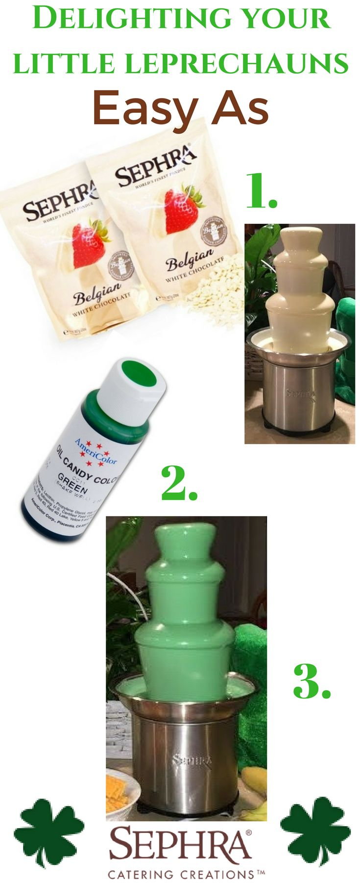 SO easy to WOW family, friends and all little Leprechauns dropping by on St. Patty's Day! Grab a Sephra Select Home Fondue Fountain - the uses are endless!  Some Sephra Belgian White Chocolate to tickle your taste buds - it's creamy and delish. Lastly a little bottle of our oil based GREEN Chocolate Coloring. This is a must - do not use regular food coloring. https://www.sephra.com/oil-based-chocolate-coloring-green Melt; Color; Dip!  #stpatricksday #greenfondue #fonduefountain