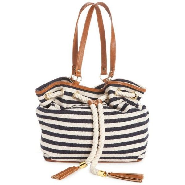 Kim Rogers Stripe Anchor Away Satchel ($32) ❤ liked on Polyvore featuring bags, handbags, stripe, white handbags, nautical purse, leather satchel purse, white satchel handbags and anchor purse