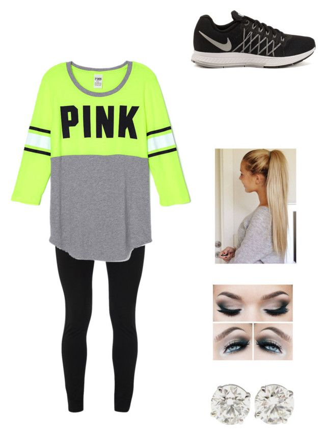 """""""Pink/Nike Running Outfit"""" by petite-chic ❤ liked on Polyvore featuring Peace of Cloth and NIKE"""