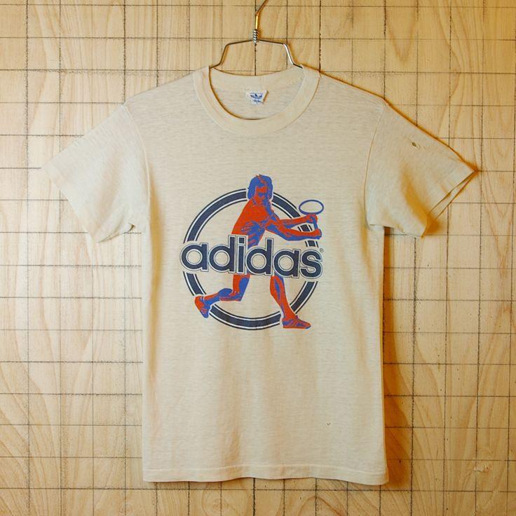 adidas古着USA(アメリカ)製スタンスミスプリントベージュビンテージTシャツ【アディダス】