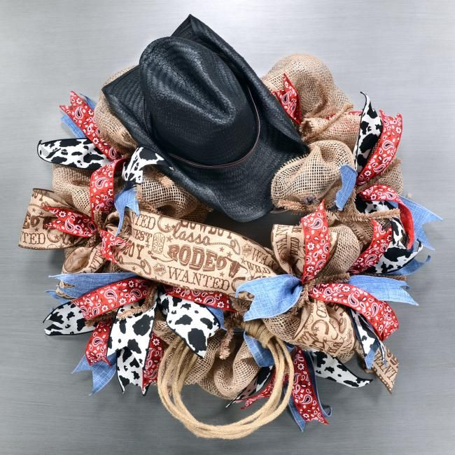 Western Rodeo Cowboy Hat Wreath