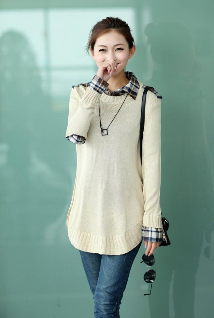 Aliexpress.com: Comprar 8889# camisa a cuadros cuello suéter de maternidad suelta otoño y el invierno ropa para mujeres embarazadas que espesan ropa para el embarazo de strass camisa fiable proveedores en Carol's garment store