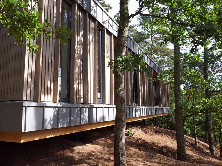 Bardage claire voie vertical en bois Douglas                                                                                                                                                                                 Plus