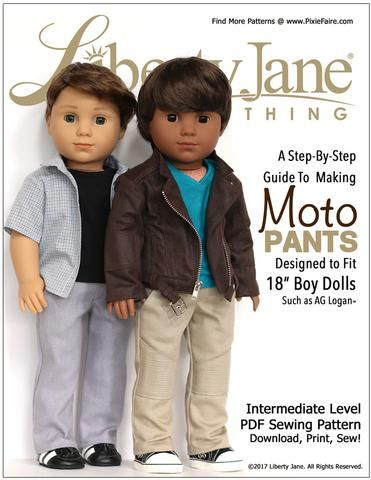 Liberty Jane Boy Doll Moto Pants Doll Clothes Pattern 18 inch American Girl Dolls   Pixie Faire
