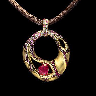 O ouro amarelo 750, Ruby 0,83 ct., Diamantes, rubis, safiras rosa- Mousson Atelier