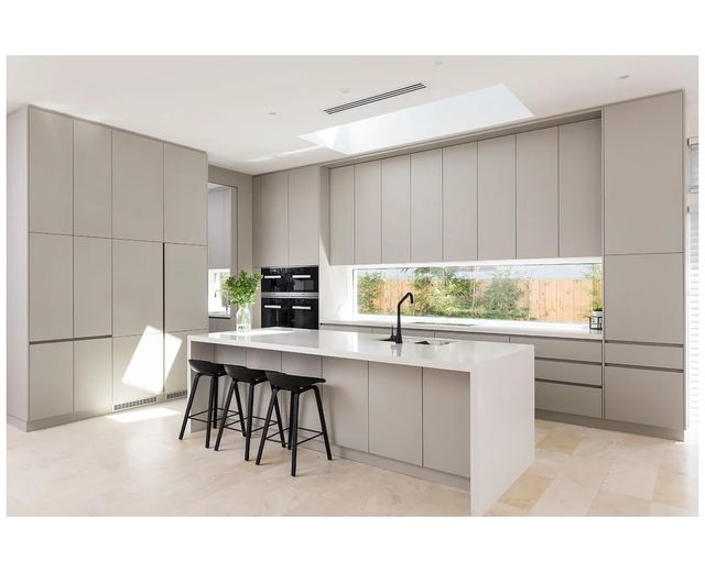 source 2020 lansenluna furniture australia modern design matt beige color no handles mdf lacquer on kitchen cabinets no handles id=96614