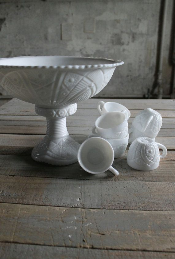 10 Pc Vintage Milk Glass Punch Bowl with Cups on Etsy, $48.00