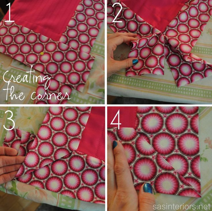 Creating a corner for curtain decorative trim band via sasinteriors.net