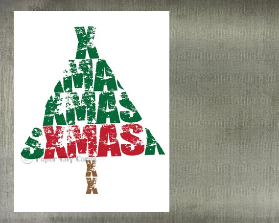 Christmas Tree Typography Christmas Card by PaperCityCards