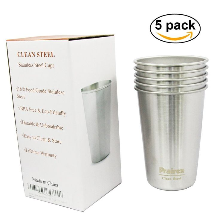 16 oz Clean Steel Stainless Steel Pint Cups - BPA free 18/8 304 Food Grade SS Metal Camping Cups Pack of 5 * For more information, visit image link.