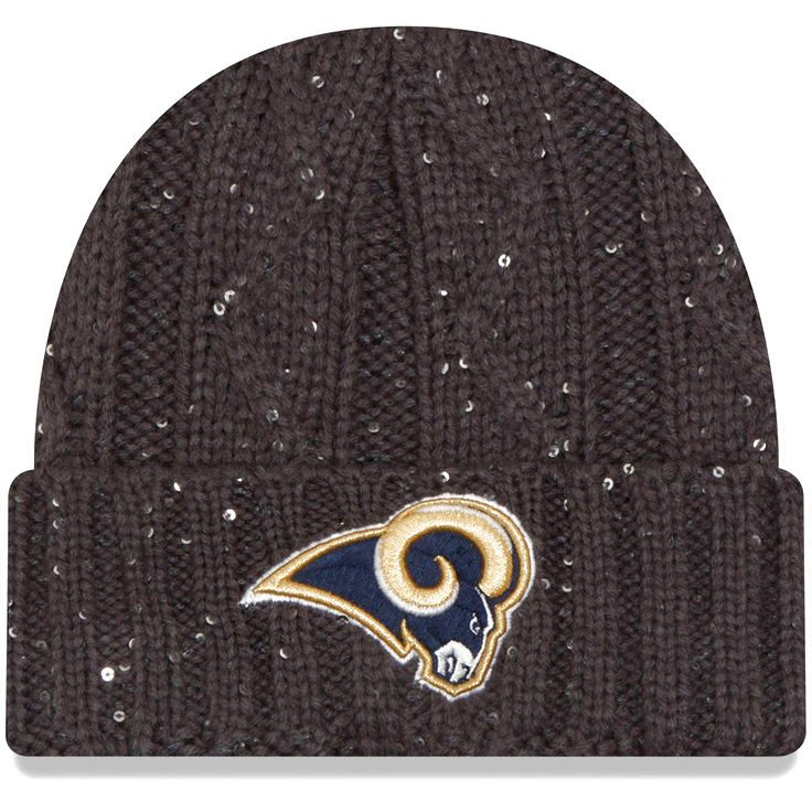 Los Angeles Rams New Era Women's Cable Frosted Cuffed Knit Hat - Graphite - $25.99