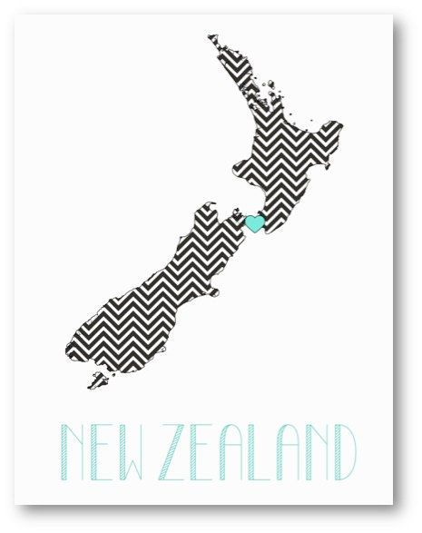 NEW ZEALAND Country Love, Chevron Pattern Map Art