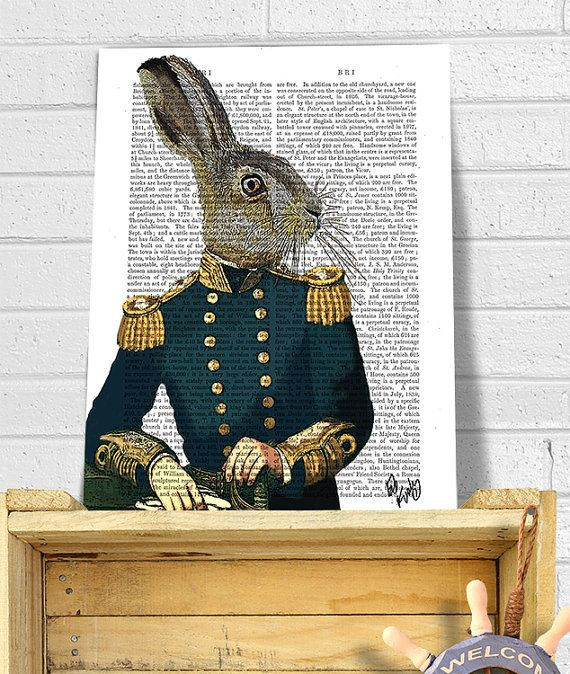 Lieutenant Hare : Military Print, rabbit print Wall Art Wall Decor, steampunk hare art print gift for men him digital painting