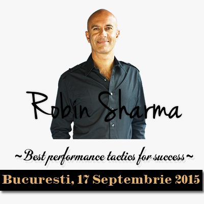 "Unul dintre cei mai proeminenti lideri in leadership la nivel international, Robin Sharma, revine la Bucuresti pentru a sustine seminarul ""Best performance tactics for success"". Considerat a fi evenimentul de business al anului 2015, seminarul de leadership sustinut de Robin Sharma va avea loc pe 17 septembrie 2015 si se adreseaza cu precadere liderilor, managerilor si antreprenorilor care doresc sa ridice moralul angajatilor lor, sa sporeasca increderea acestora in organizatia pe care o…"