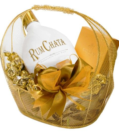 Rum Chata Cream Liqueur & Godiva Chocolates Gift Basket  Since its introduction, Rum Chata has had a significant fan base that keeps growing. Its rich, smooth taste and spice blend make it an excellent addition to a variety of drinks. Packaged inside this gold wire basket surrounded by Godiva chocolates and truffles.  Rum Chata Liqueur 750 ml Godiva 4 piece Truffle Box Wrapped Gold Truffles  Price: $69.99