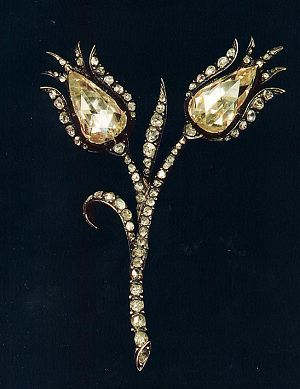 This 19th century brooch is a rare example of Ottoman jewellery with tulip motifs.