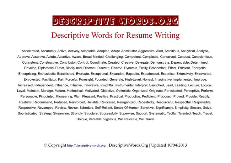 resume writing descriptive words business