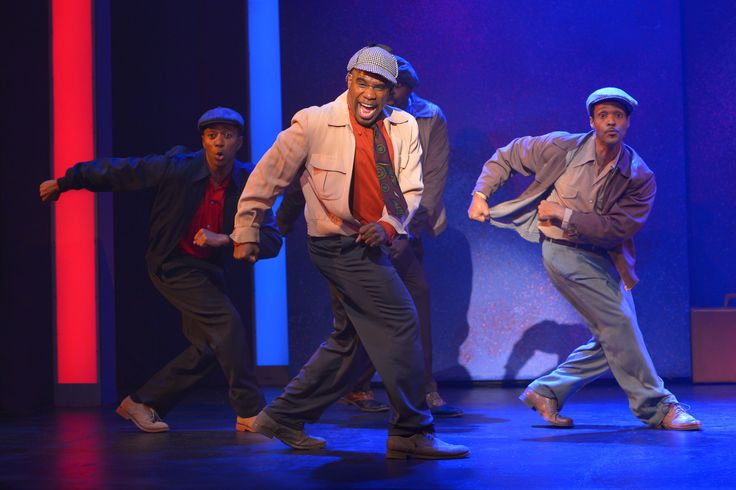 Thomas Hobson, LaVance Colley, Michael Shepperd (back) and Stu James in Smokey Joe's Cafe. Photo by Kevin Berne. http://www.pasadenaplayhouse.org/box-office/mainstage/smokey-joes-cafe-the-songs-of-leiber-and-stoller.html — at Pasadena Playhouse.